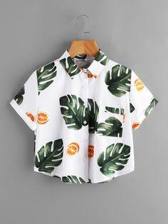 Leaf Print Cuffed Pocket Top