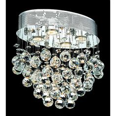 Galaxy Chrome Four-Light 11.5-Inch Flush Mount with Royal Cut Clear Crystal