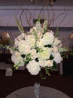 hydrangea, rose and willow arrangement