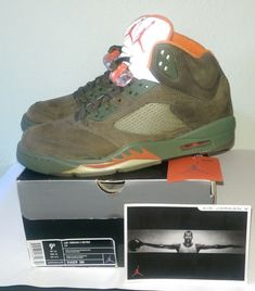 fbd023cc2b5a81 Air Jordan 5 Retro LS Army Olive Solar Orange Size 314259 381 for sale  online. Latasha Gonsales · Athletic Shoes