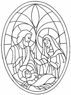 nativity coloring page mary joseph and baby jesus in a stained glass frame great as template for draw color oil smudging too - Christmas Nativity Coloring Pages