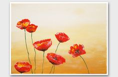 Red poppy painting print Modern Abstract Poppies by AstaArtwork, $23.00