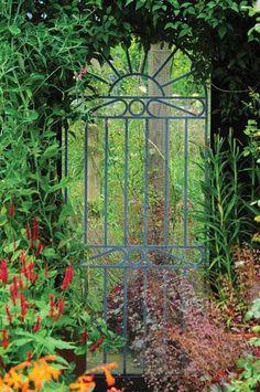 Garden Mirror Illusion Expands the Lush, Green of Amster Yard (And Yours) - Improvised Life Garden Entrance, Garden Arbor, Garden Deco, Garden Gates, Herb Garden, Vegetable Garden, Garden Landscaping, Unique Gardens, Small Gardens