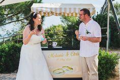 Mel & Chris enjoying a classic ice-cream break during their wedding reception in the Algarve