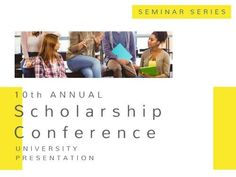 A creative Business Event template. A simple yellow and white background with images of students. Black text is also included displaying details on the scholarship conference.