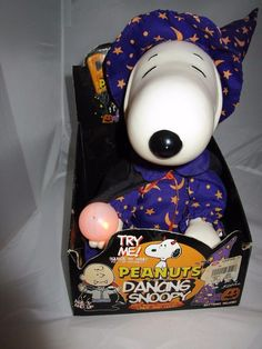 "Rare! Halloween Peanuts Dancing SNOOPY Wizard 10"" Sitting NEW in Original Box"