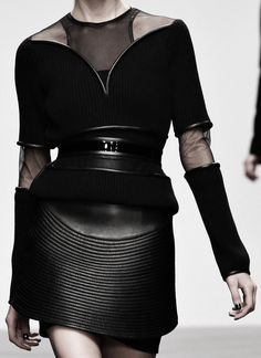 retro-futuristic avant garde couture reinterpretation of the 50s waistcoat dress with quilted leather and wide belt - david koma aw13