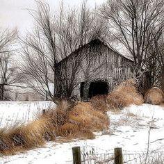 Winter Color: Photo by Photographer William Griffin Landscape Drawings, Landscape Art, Landscape Paintings, Watercolor Barns, Watercolor Landscape, Watercolor Painting, Country Barns, Old Barns, Country Roads