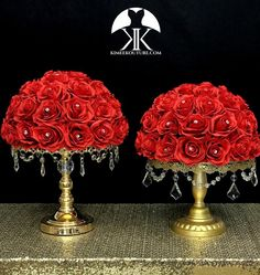 RED Rose Arrangement with PREMIUM Real Touch Silk Roses and RHINESTONE GEMS. Red Wedding Centerpiece. Red Centerpiece. Floating Pomander. PICK ROSE COLOR! 16 SIZE PICTURED With RHINESTONE GEMS IN Roses. GOLD STANDS With CRYSTALS Sold Separately.  These beautiful roses have a real feel and look to Flower Ball Centerpiece, Red Wedding Centerpieces, Vase Centerpieces, Mickey Centerpiece, Wedding Decorations, Cheap Beach Decor, Cheap Office Decor, Bling Wedding, Lilac Wedding
