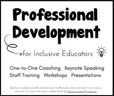 Build your professional skills and learn how to effectively create and teach in an inclusive classroom. Get real-world advice, strategies, and research-based information from an inclusion teacher! Contact Nicole @ theinclusiveclass@gmail.com. Inclusion Teacher, Inclusion Classroom, Staff Training, Get Real, Professional Development, Keynote, Coaching, Presentation, Advice