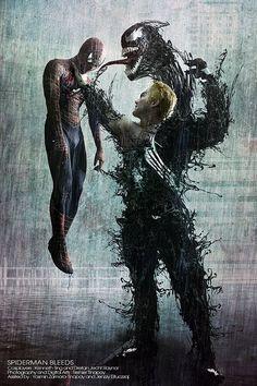 Spiderman vs Venom by Lilaeroplane Venom Comics, Marvel Venom, Marvel Art, Marvel Dc Comics, Marvel Heroes, Marvel Comic Character, Marvel Characters, Comic Book Characters, Spiderman Kunst