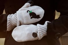 via en.dawanda.com Gloves – Black Cat Beige Knitted Wool Mittens – a unique product by CloudberryFactory on DaWanda