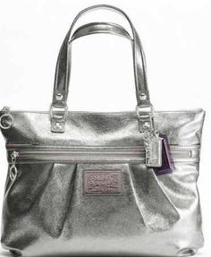 Coach Poppy Metallic Silver Handbag Purse Tote, DESIGNER COACH BAGS WHOLESALE, cheap coach bags