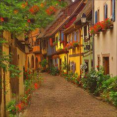 Cobblestone Street, Eguisheim, France photo via earthbound