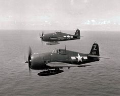 F6F Hellcats of Fighting Squadron (VF) 85 off the carrier Shangri-La (CV 38) pictured in flight near Japan on August 17, 1945.