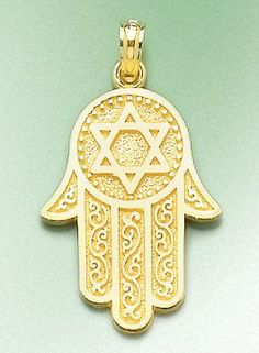 Amazon.com: 14k Gold Religious Necklace Charm Pendant, Jewish Hand Of God With Star Of David: Million Charms: Jewelry