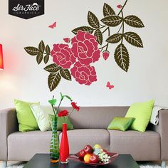 Rosebush and Butterflies Wall Decal - Home Decor - Wall Graphics - Vinyl Wall Sticker sur Etsy, $109.08 CAD