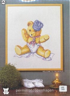 Teddybear With Hat - (Cross Stitch) Find your next cross stitch design at Cobweb Corner and save 20% on your first order with coupon WELCOMECC #crossstitch #babies #baby #kids #cobwebcorner #teddy