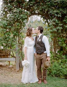 paige + geoff | Arabella Gown from BHLDN | via: green wedding shoes