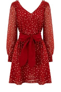 Oasis Sale | Mid Red Heart Print Dress | Womens Fashion Clothing | Oasis Stores UK - StyleSays