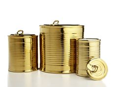love these!! gold canisters that look like vintage tin canisters