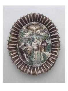 Plat ovale (d'une suite de 7): le Baptême du Christ par BERNARD PALISSY - Musée national de la Renaissance (Ecouen)
