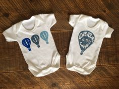 Adventure is Out There Gift Set - Organic Cotton Bodysuits - Hot Air Balloon Gift Set - Adventure Baby Gift - Adventure Baby Clothes by CraftsbyKatieL on Etsy Balloon Gift, Air Balloon, Organic Baby, Organic Cotton, Keepsake Quilting, Adventure Is Out There, Baby Bodysuit, Bodysuits, Baby Gifts