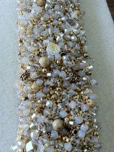 Cream/Gold Embellished Peyote Bracelets