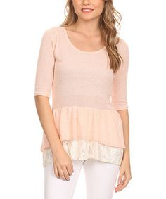 Another great find on #zulily! Peach Ruffle & Lace-Trim Top #zulilyfinds