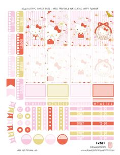 Hello Kitty's Sweet Date - Free Printable for Classic Happy Planner by Organized Potato