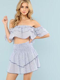 Ladies Women/'s Pinstripe Bardot Crop Top Frill Hem Shorts Co Ords 2 Piece Set