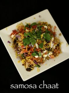 samosa chaat recipe, how to make samosa matar chaat recipe with step by step photo/video. popular street food made by deep fried samosa and chaat chutney's. Jamun Recipe, Chaat Recipe, Biryani Recipe, Indian Veg Recipes, Entree Recipes, Cooking Recipes, Rice Recipes, Cooking Tips, Snack Recipes