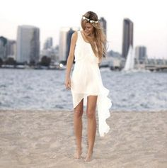 2016 New Short White/Ivory Chiffon Summer beach Wedding dress Bridal gown Custom in Clothing, Shoes & Accessories, Wedding & Formal Occasion, Wedding Dresses | eBay
