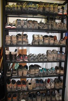Sooooo many boots at an albergue!!