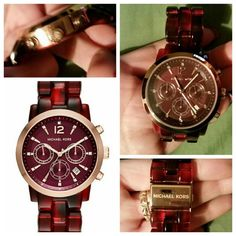 Michael kors watch Red acrylic woman watch rosegold face rim Michael Kors Accessories Watches