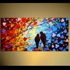 Original Love Birds Painting  Rainbow Colors  by ArtonlineGallery