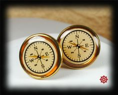 Compass Cufflinks Steampunk Cuff Links by VictorianCuriosities, $25.00