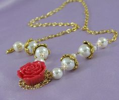 Roses in Gold Necklace - Free shipping - Buy 3 Get 1 FREE -$32.00