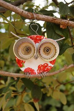 inspiration only- owl garden art from repurposed items