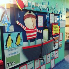 Display board for 'Lost and Found' Picture Book for EYFS. We linked this to maths (size ordering of penguins) and literacy (story ordering and describing their favourite character)!