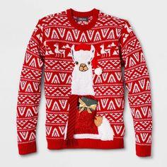 Men's Ugly Christmas Llama Drink Pocket Sweater - Red S, Size: Small Ugly Sweater, Red Sweaters, Pullover Sweaters, Sweater Cardigan, Chunky Cardigan, Hand Warmers, Being Ugly, Christmas Sweaters, Men Casual