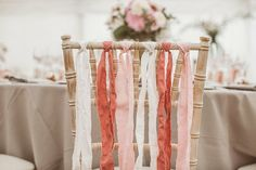 #Chair #Decor #Ribbons | All the chairs at the head table were decorated with pretty ribbons | Photo: jayrowden.com