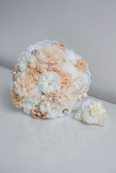 Fabric brides bouquet and wristlet. Products created by Wild Floral Designs, photographed by Georgina at Panache photography all rights reserved Alternative Bouquet, Alternative Wedding, Bride Bouquets, Floral Designs, Buttonholes, Wedding Designs, Brides, Create, Fabric