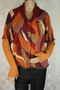 """Upcycled Orange Burgundy Brown Cardigan with Glove Cuffs PL 42"""" Bust Made from Recycled Sweaters & Vintage Buttons by MaureenMadeIt on Etsy"""
