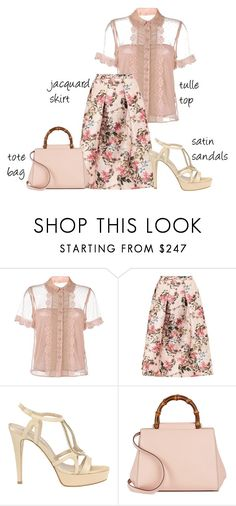 """""""Trending 2/27/2017"""" by lorelei-is-me ❤ liked on Polyvore featuring RED Valentino, Ted Baker, TIFFI, Gucci, sandals, totebag, jacquardskirt and tulletop"""