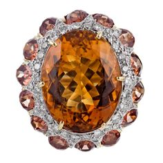 Henry Dunay Citrine and Madeira Citrine Designer Gold Ring. Estate