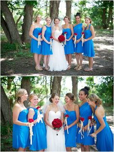 Alfred Angelo Marine Blue bridesmaid dresses and red roses