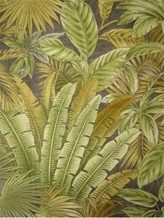 "Bahamian Breeze Fossil.  Tommy Bahama Fabric - Island Memories Collection. 100% cotton canvas tropical print. Multi purpose home decorator fabric for drapery, upholstery, pillows, top of the bed or slipcovers. V 27"" / H 27"". Made in U.S.A. 54"" wide."