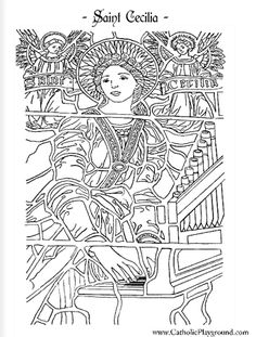 Saint Cecilia Catholic coloring page