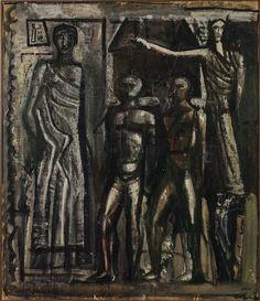 """Mario Sironi - Parete: composizione con figure, 1938-39 - Mart, Archivio Collezione Romana Sironi - """"La Magnifica Ossessione"""" www.mart.tn.it/magnificaossessione"""